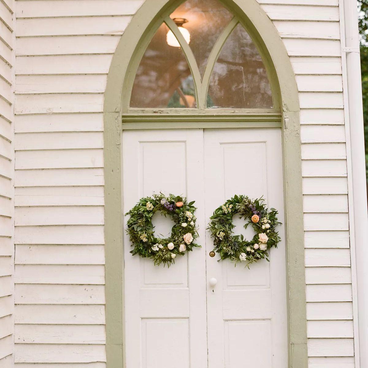 church doors with wreaths