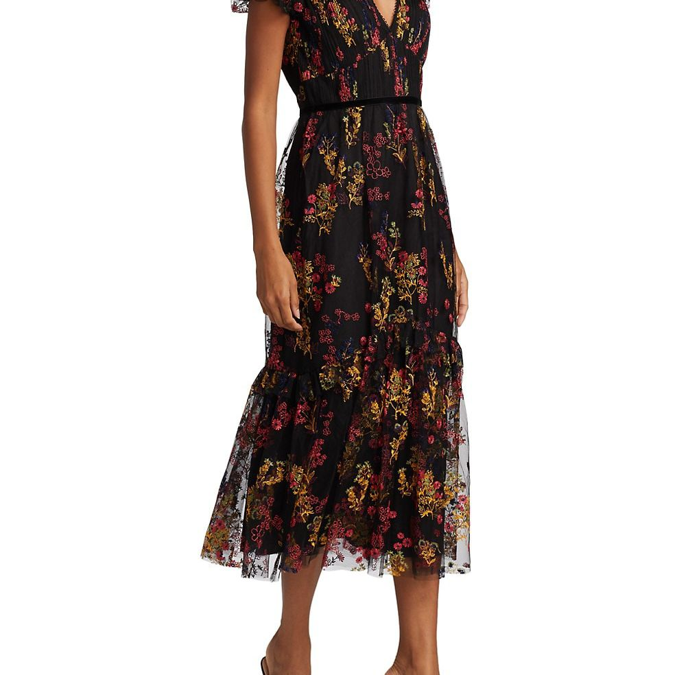 Monique Lhuillier Floral Embroidered Short-Sleeve Dress, $695