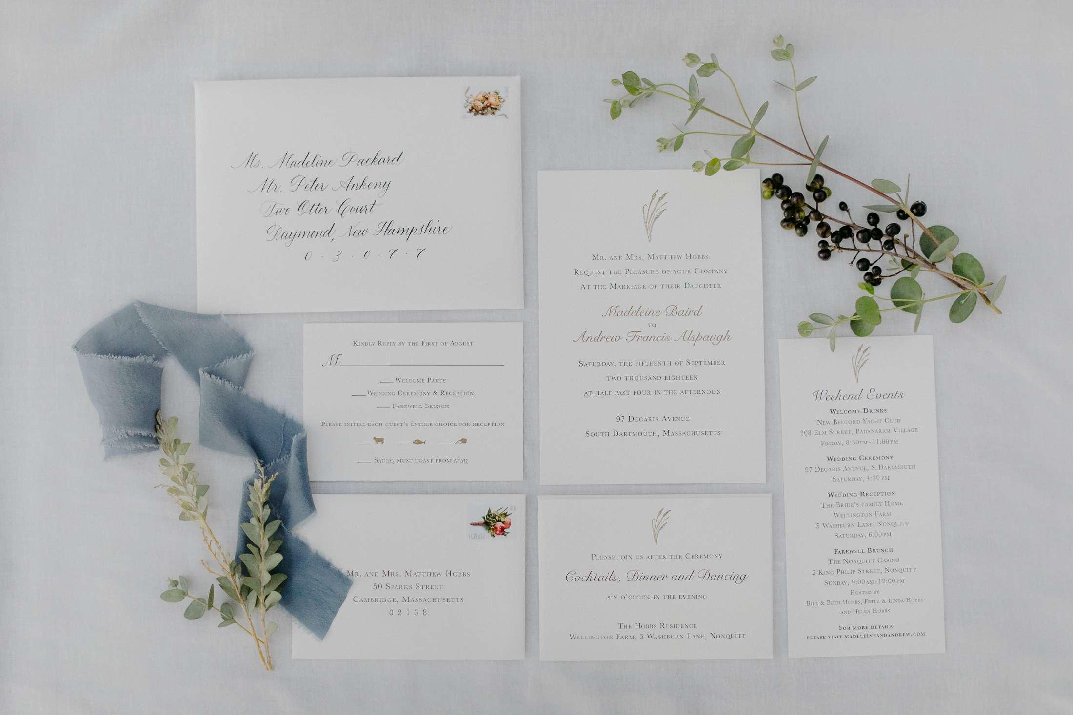at-home rustic massachusetts wedding, elegant wedding invitations