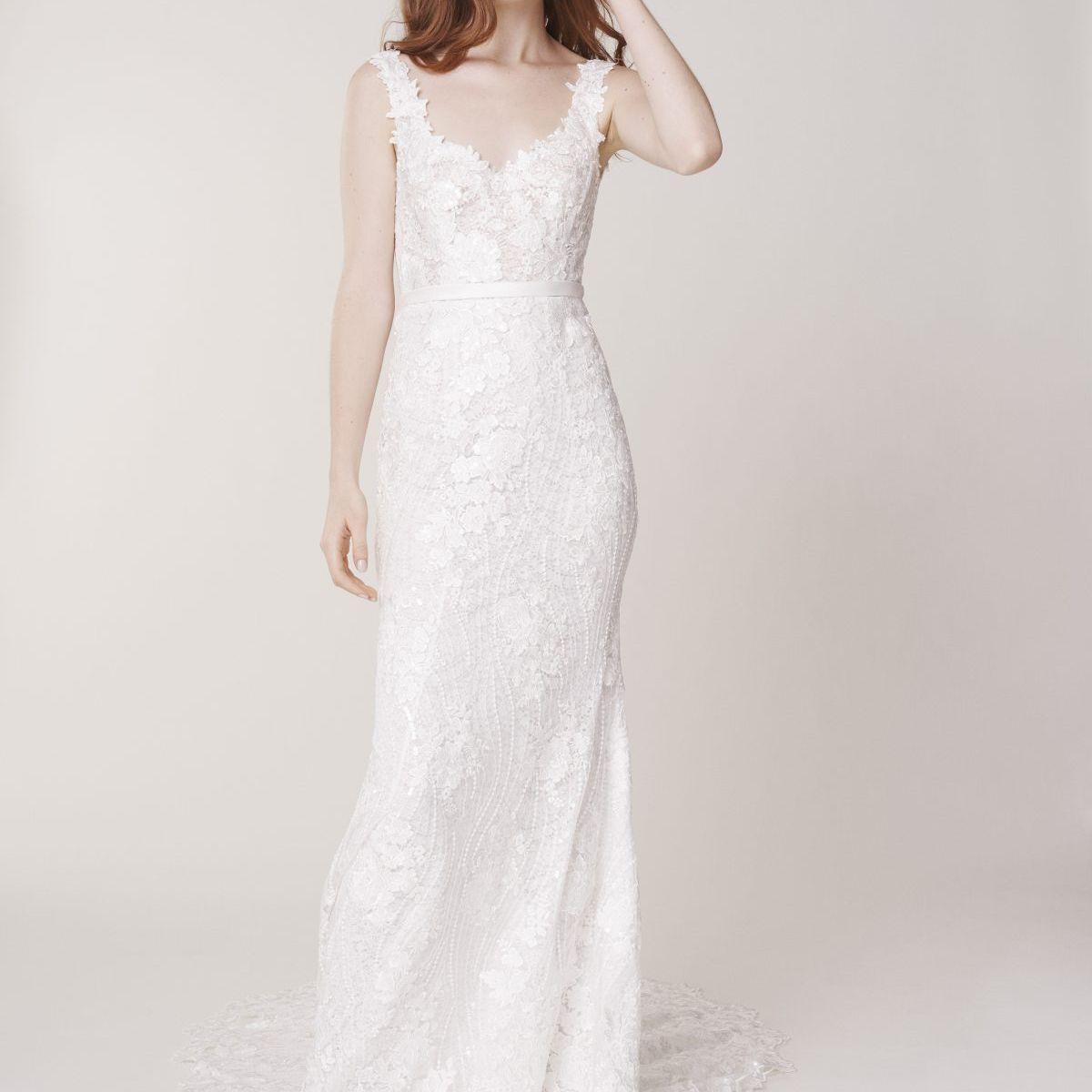 Alyne by Rita Vinieris Sleeveless Sweetheart Neckline Floral Sheath Wedding Dress $4,650
