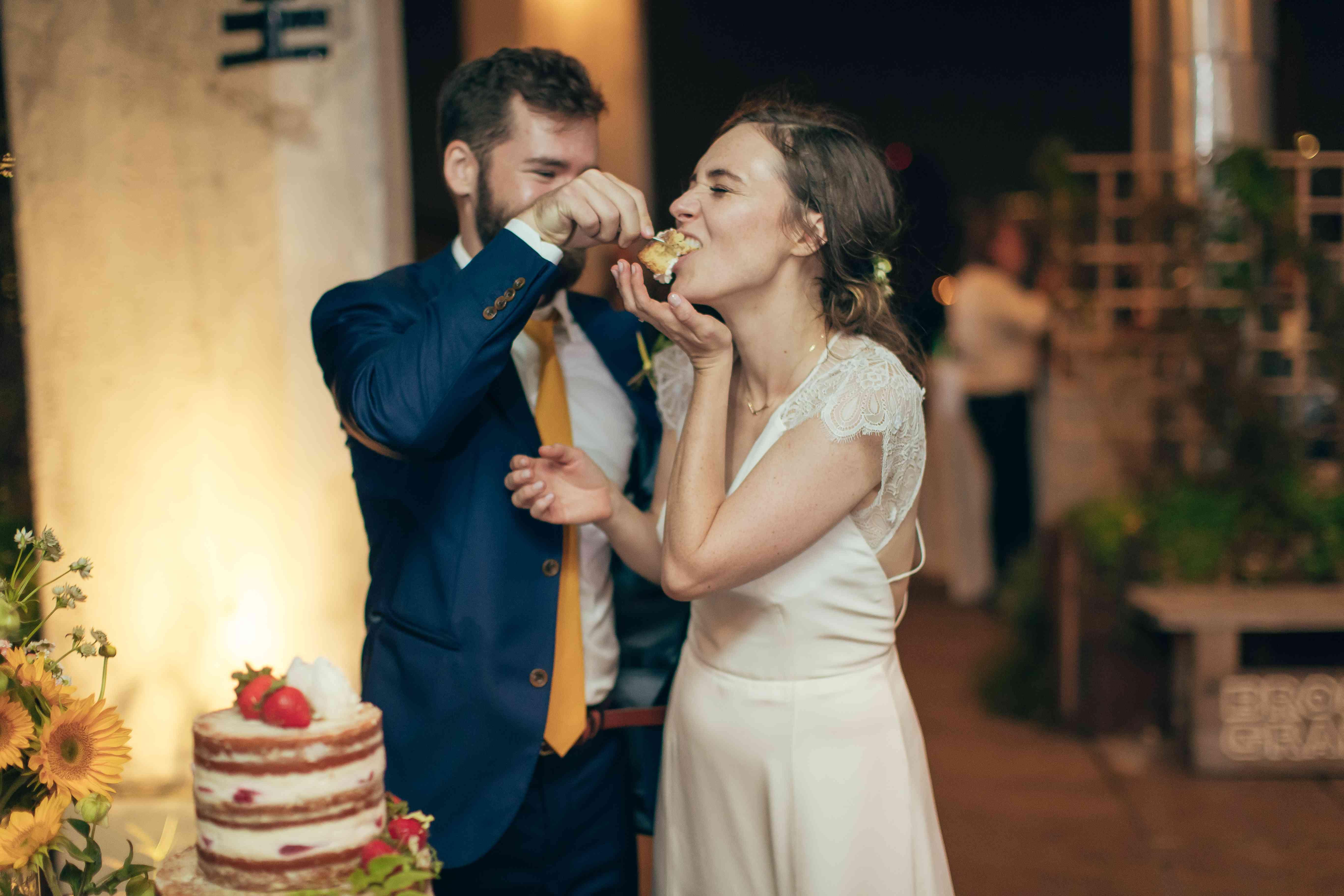 Bride eating cake