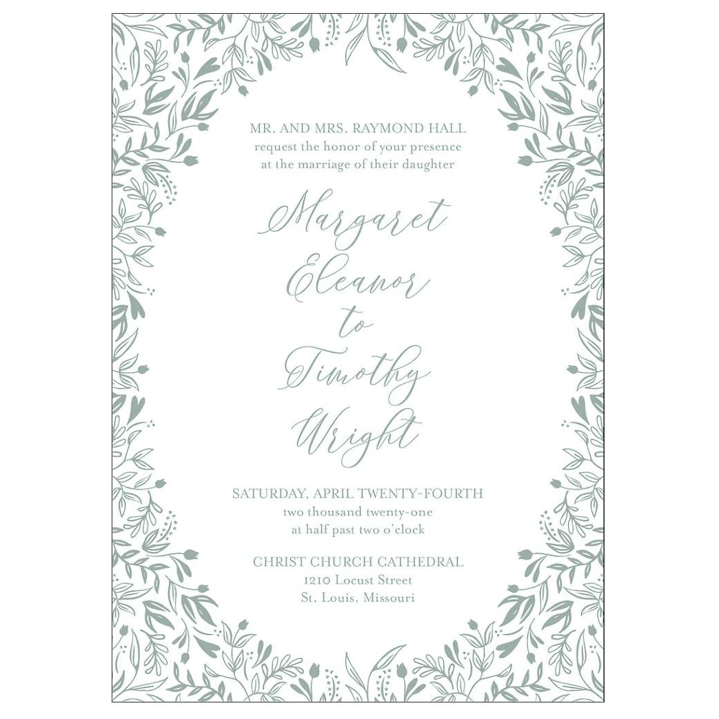 Paper Source Letterpress Garden Wedding Invitation