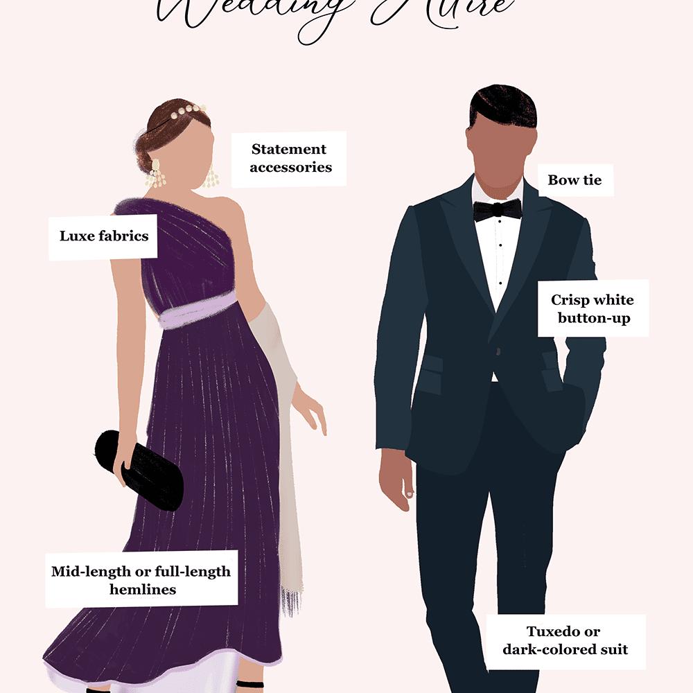 Black Tie Optional Wedding Attire For Men And Women