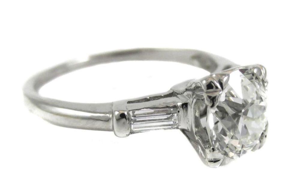 Rive Gauche Jewelry Old European Cut Diamond Platinum Engagement Ring