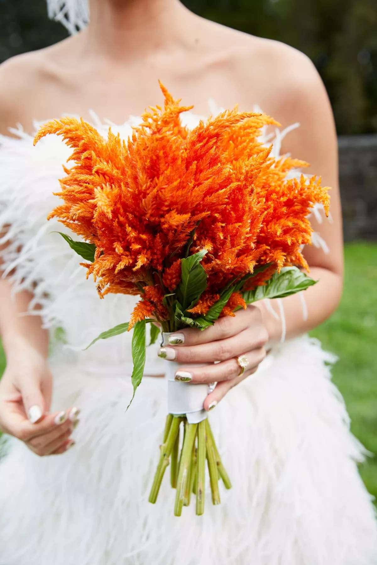 orange scabiosa bouquet