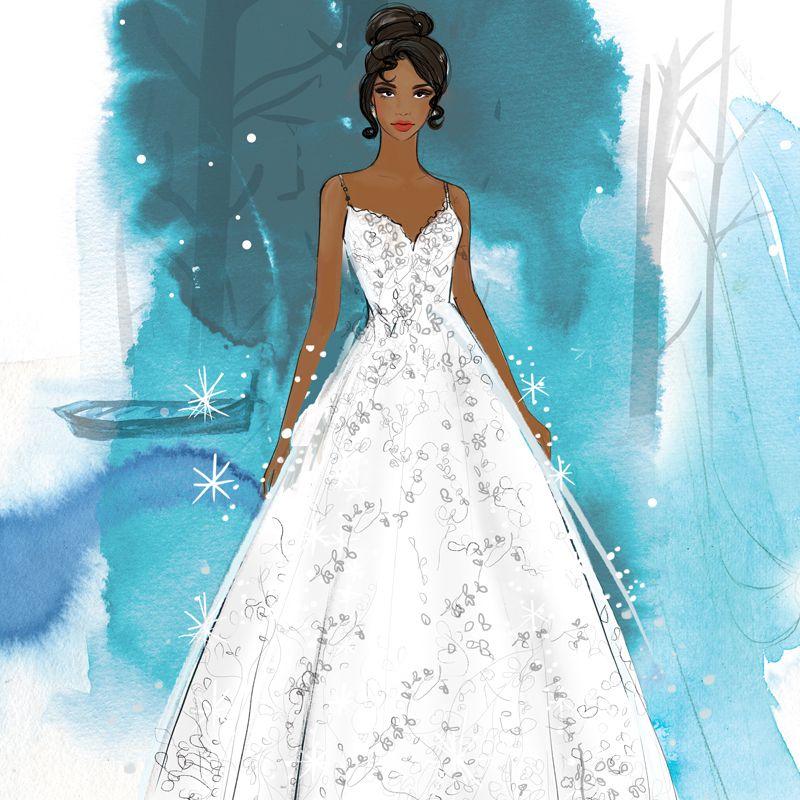 tiana wedding dress sketch