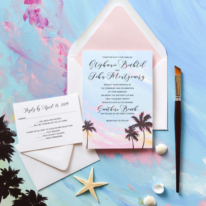 Tropical sunset wedding invitations
