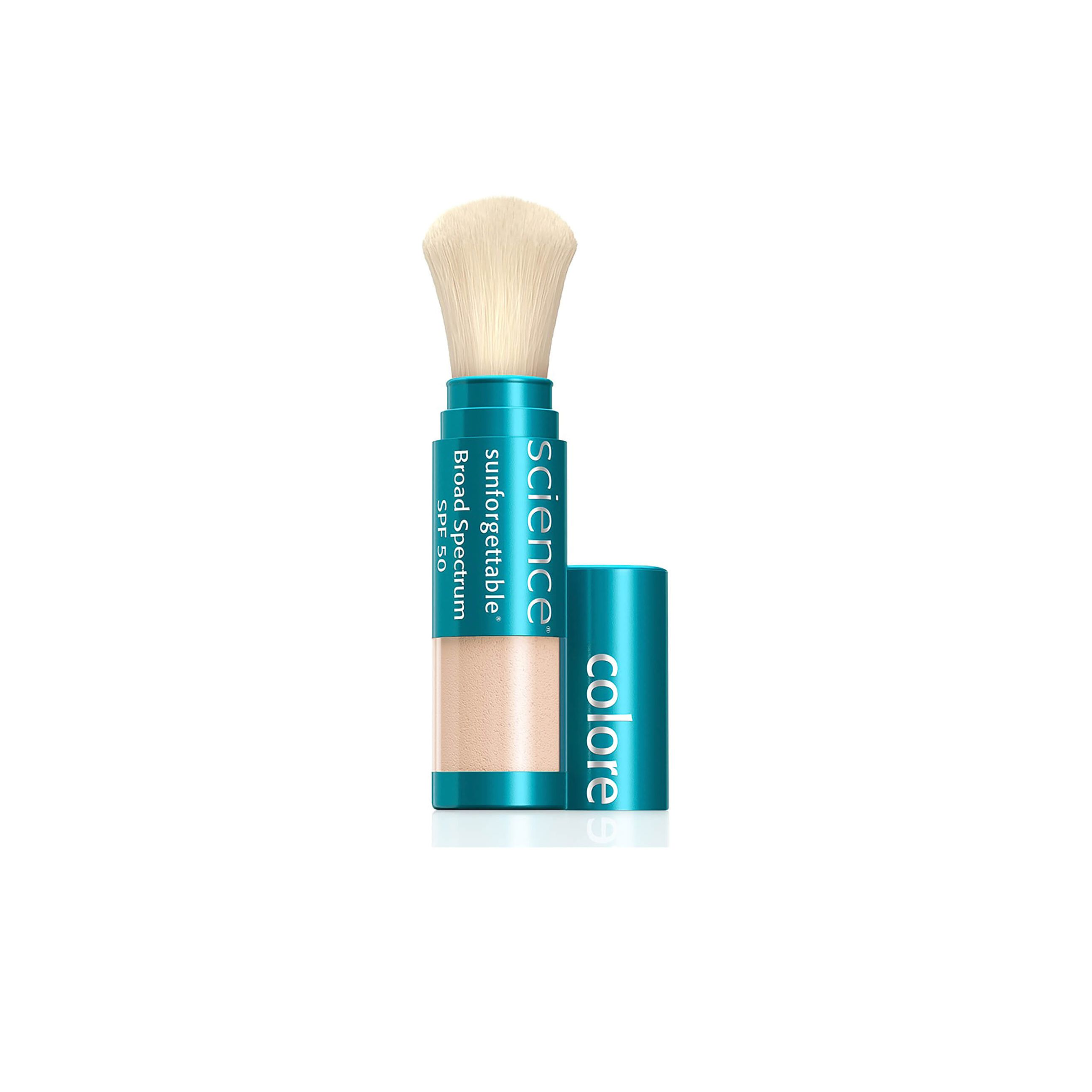 ColoreScience brush-on sunscreen with brush exposed