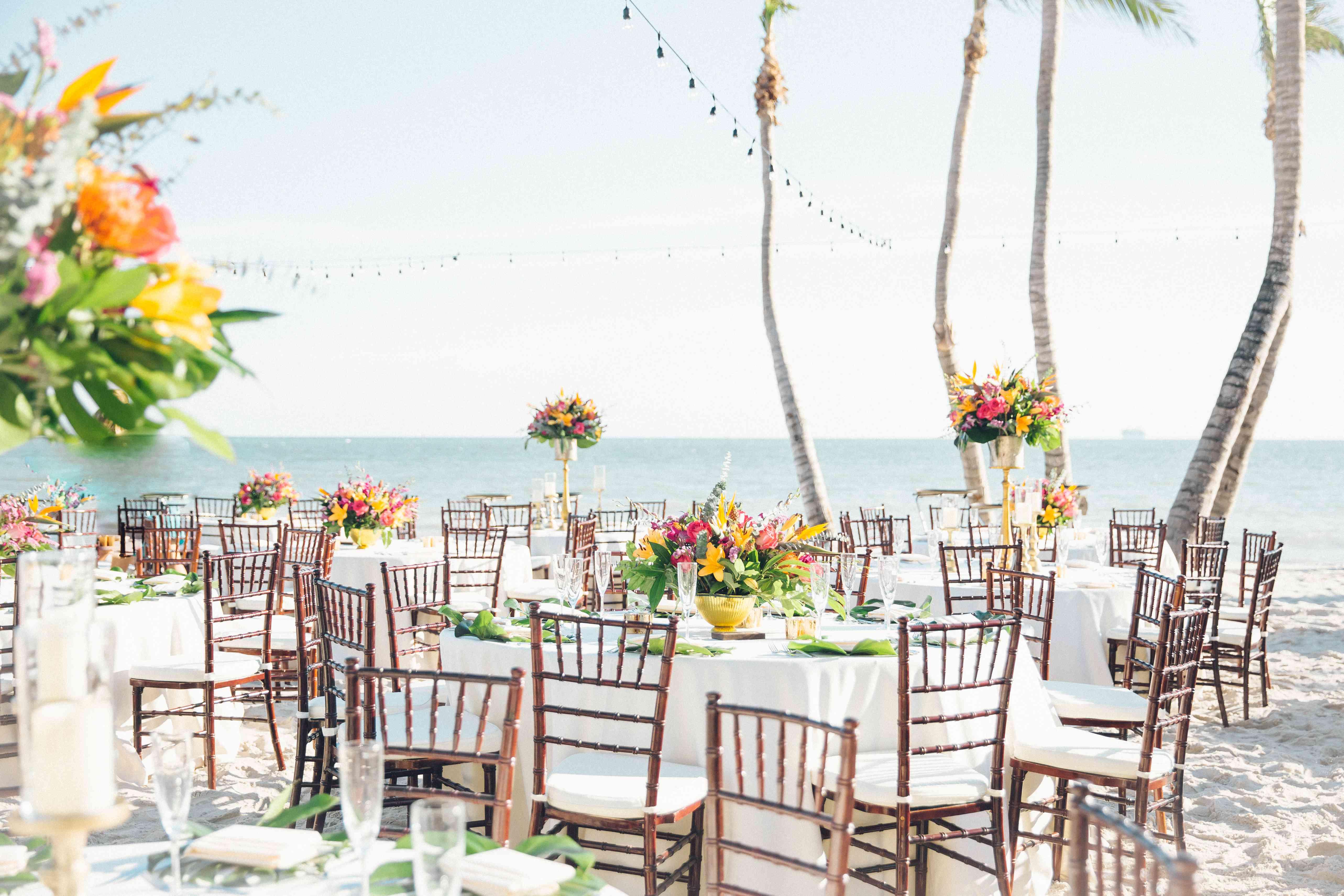 Wedding reception dinner tables