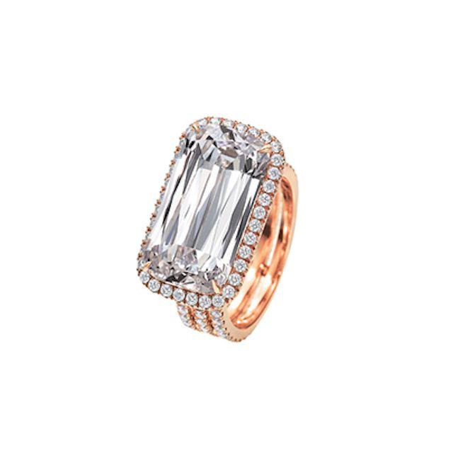 Tripe Row Sideways Trellis Ring