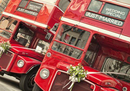 decorated wedding transportation