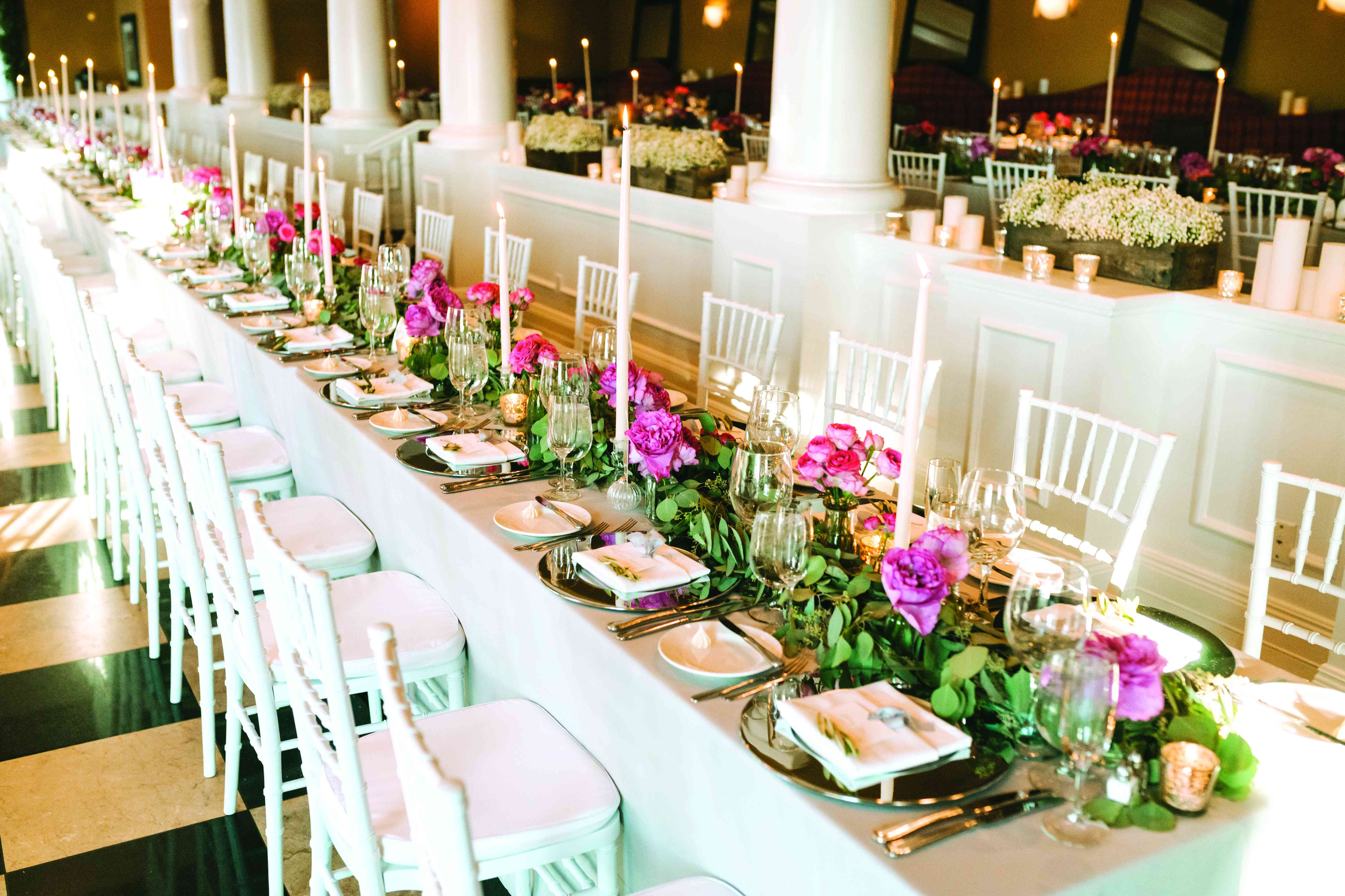 Tapered Candles and Pink Flower Centerpieces