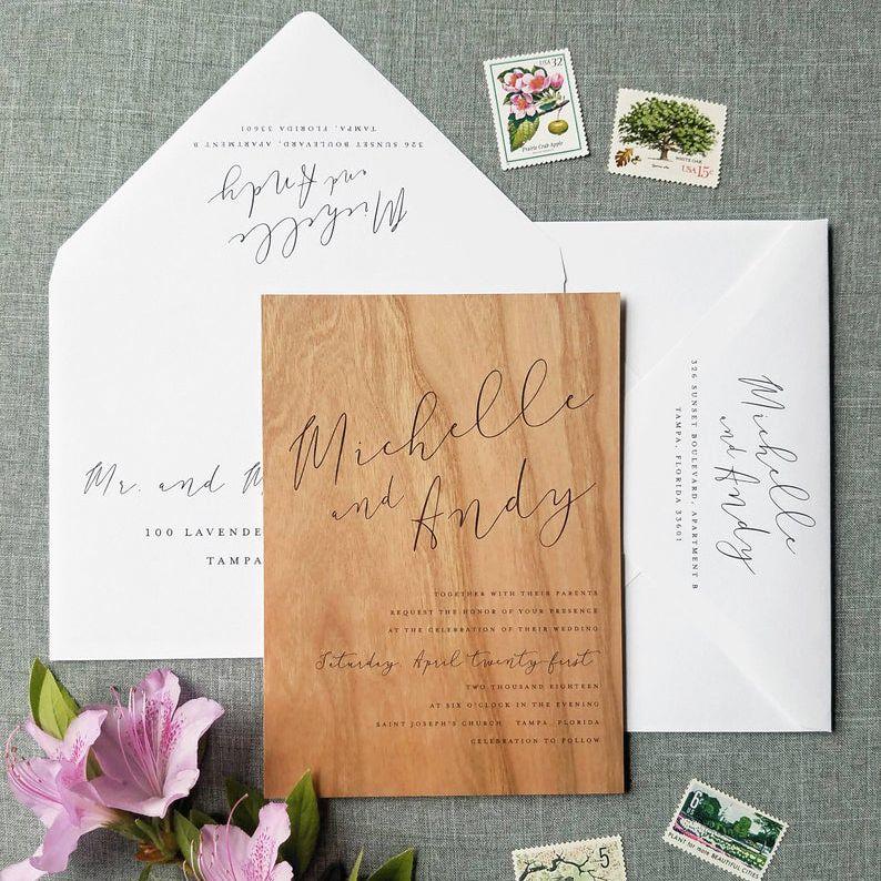 Cricket Printing Real Wood Wedding Invitation