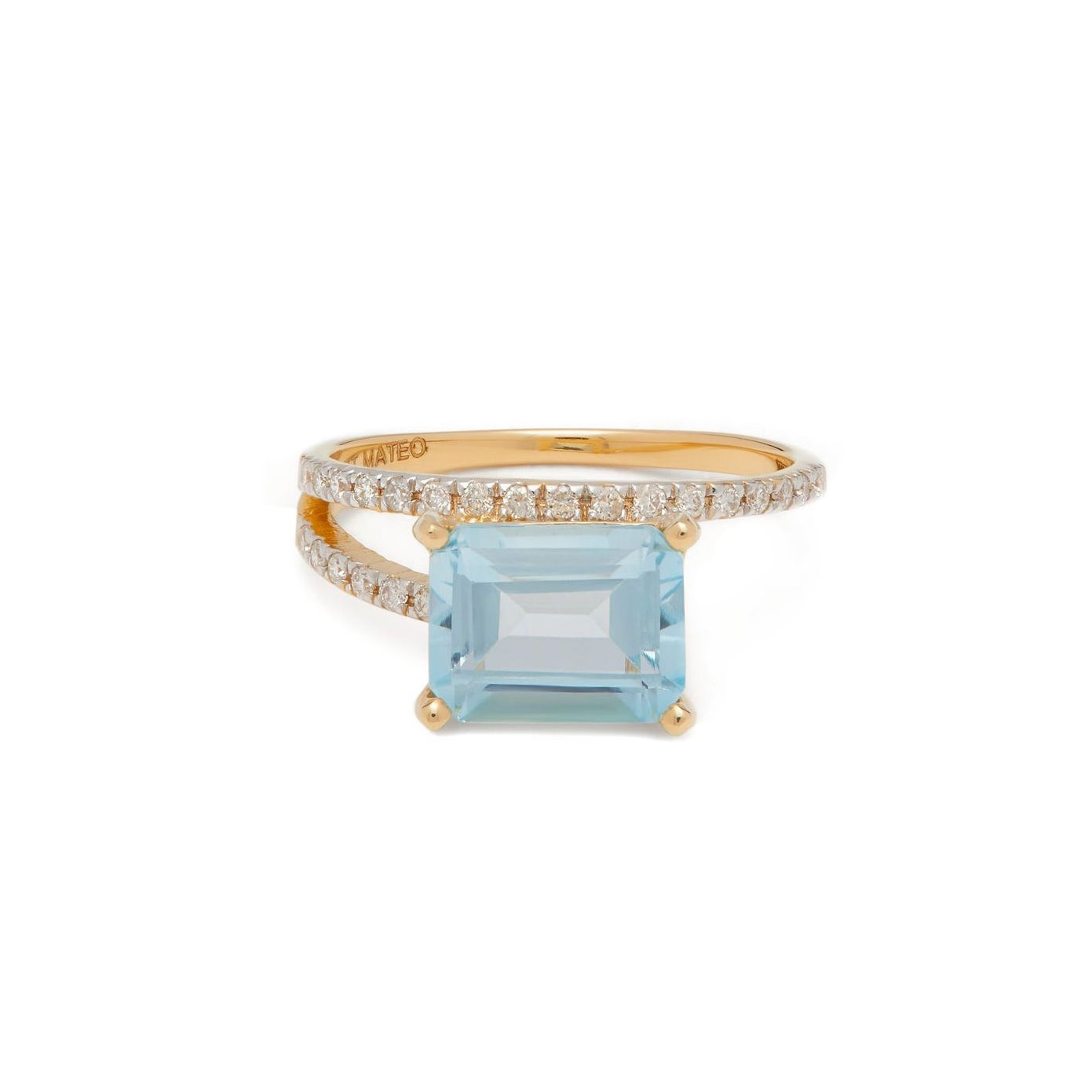 Mateo Point of Focus Diamond Topaz and 14K Gold Ring