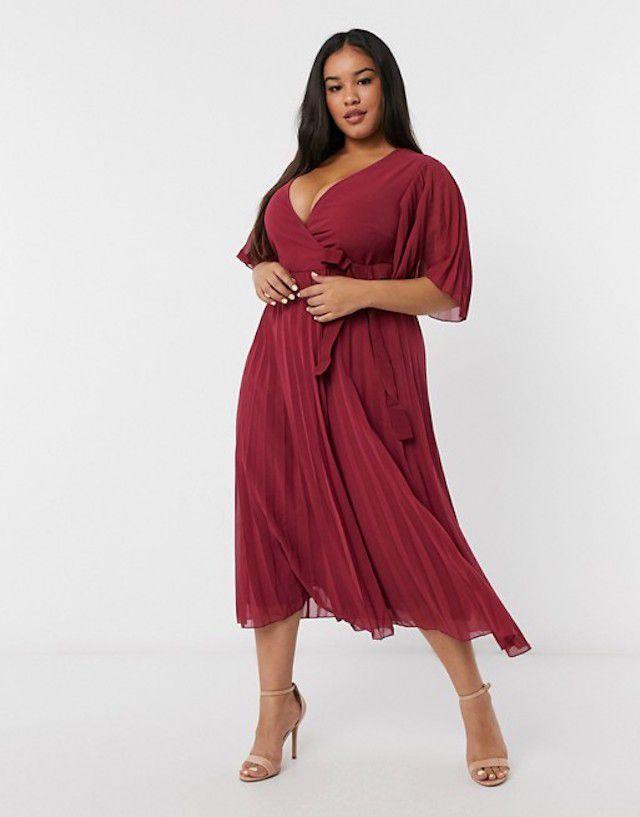 ASOS DESIGN Curve Pleated Midi Dress With Kimono Sleeve And Tie Waist, $60