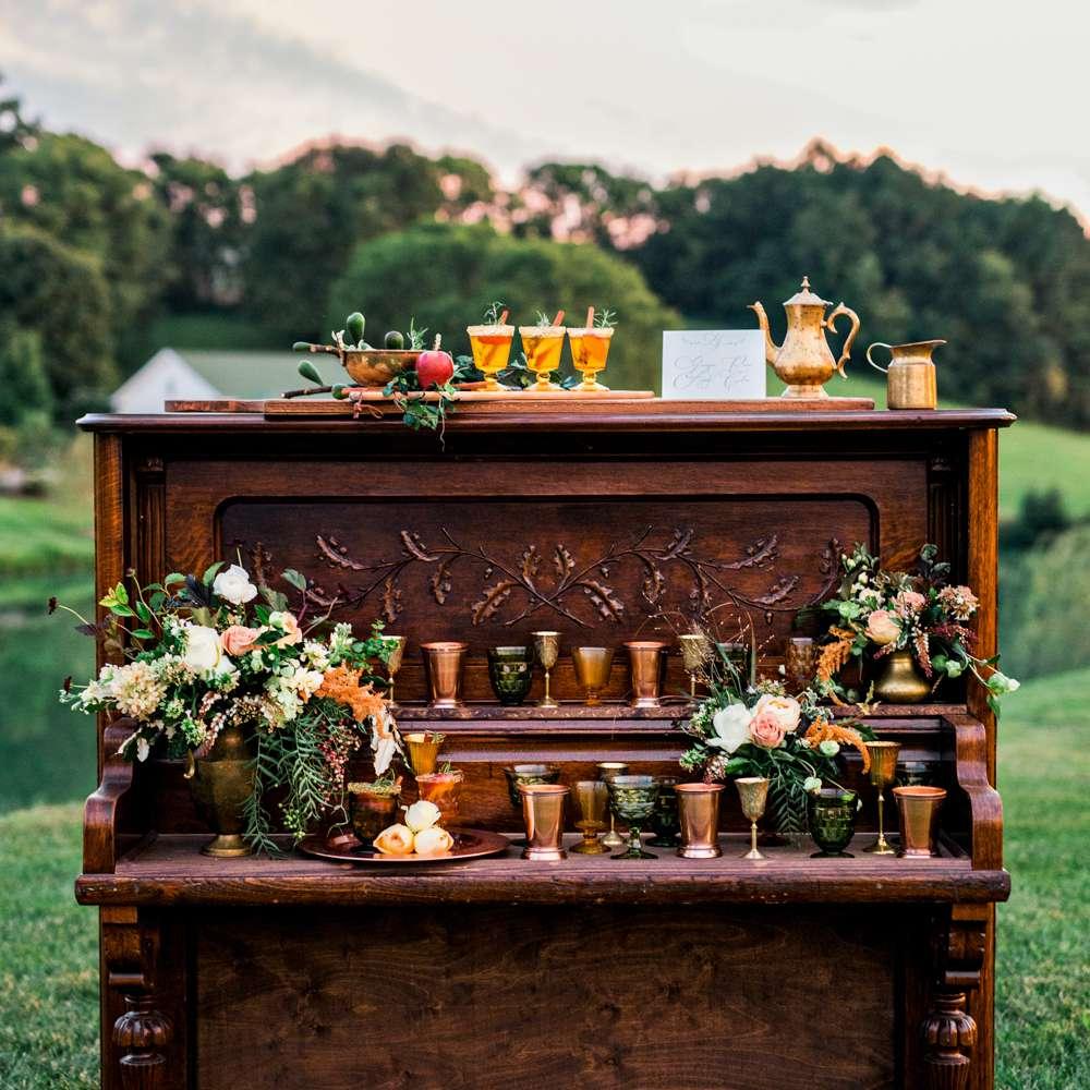 Apple cider bar on vintage wooden furniture