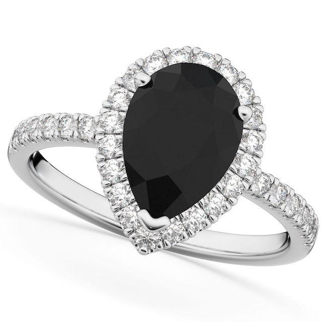 Allurez Pear Black Diamond Engagement Ring in 14k White Gold