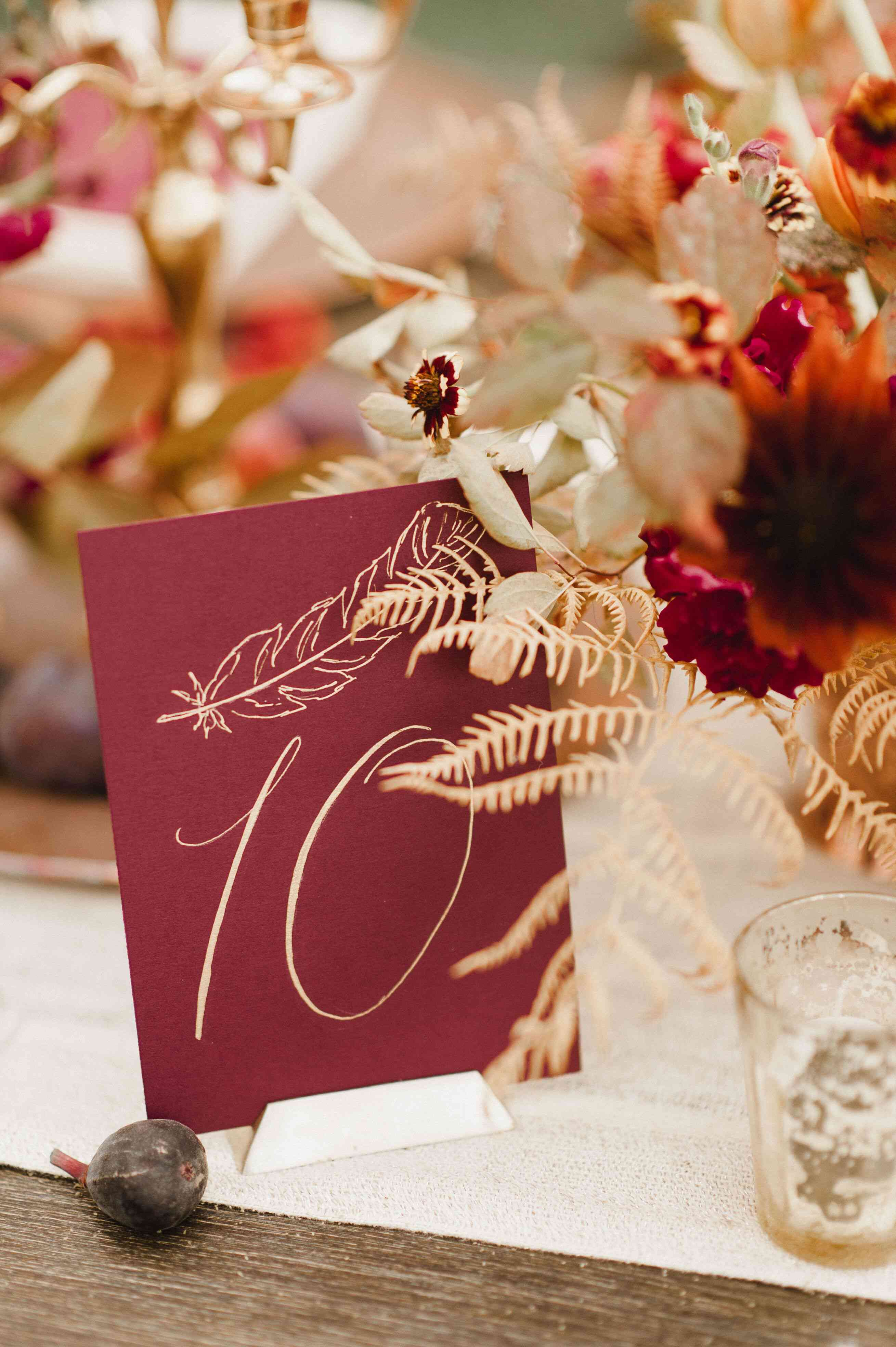 Calligraphy wedding table number