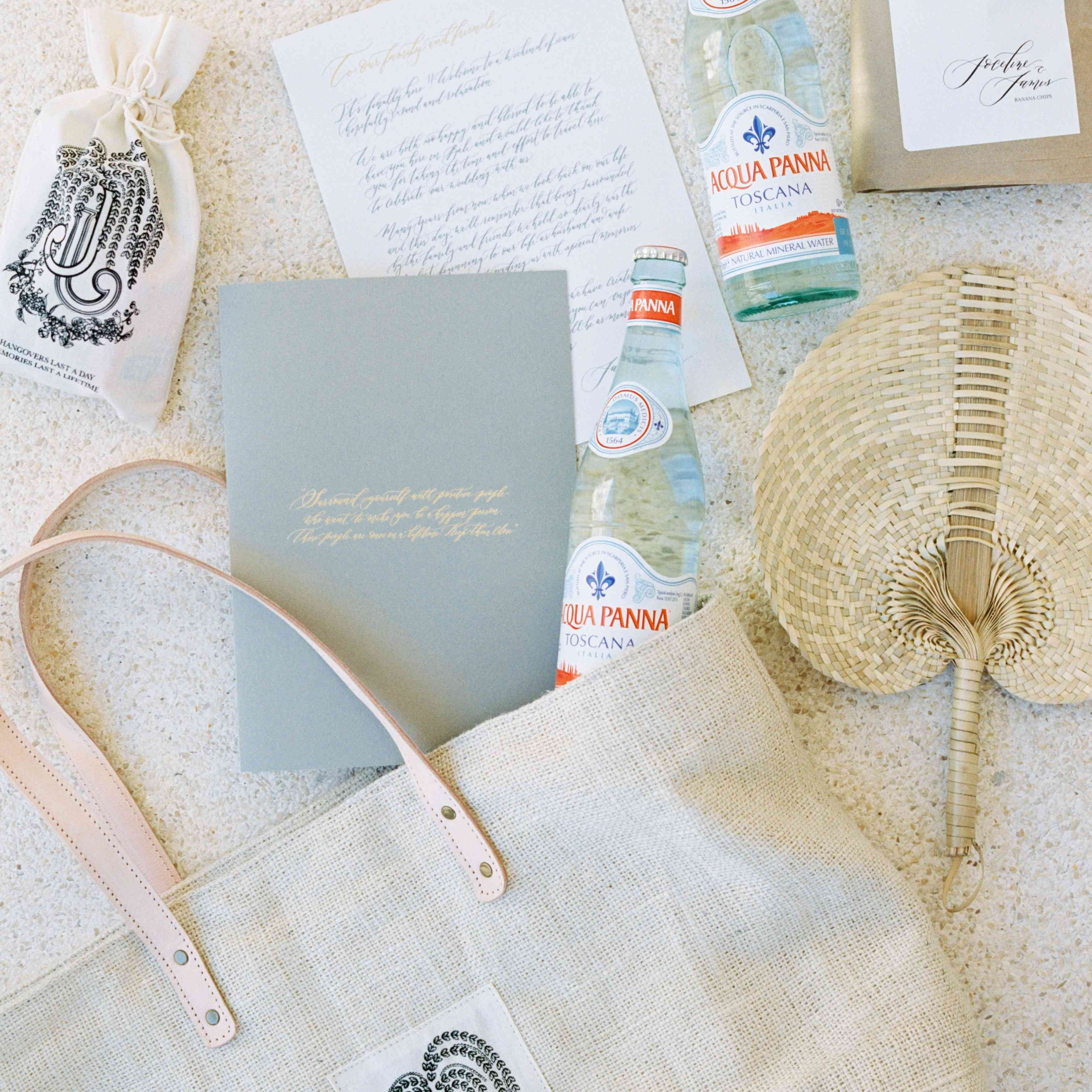 Welcome bag with personalized notes