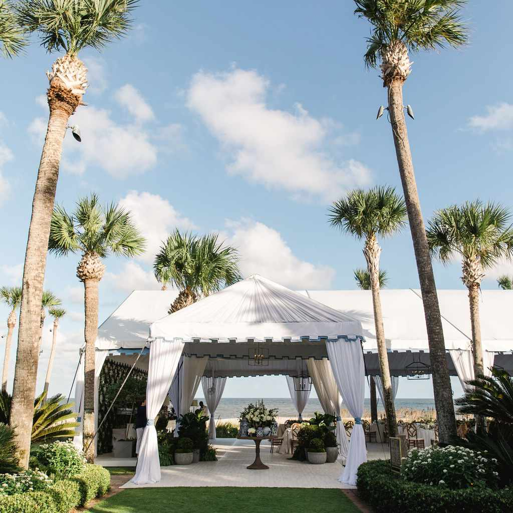 timeless southern wedding, tented reception