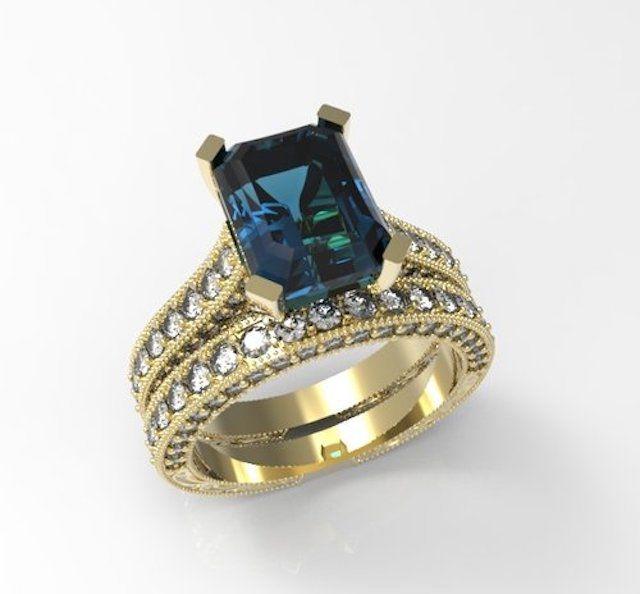 OC Jewelers Diamond and London Blue Topaz Engagement Ring