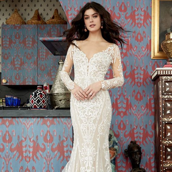 Model in allover lace long-sleeve V-neck fit-and-flare gown
