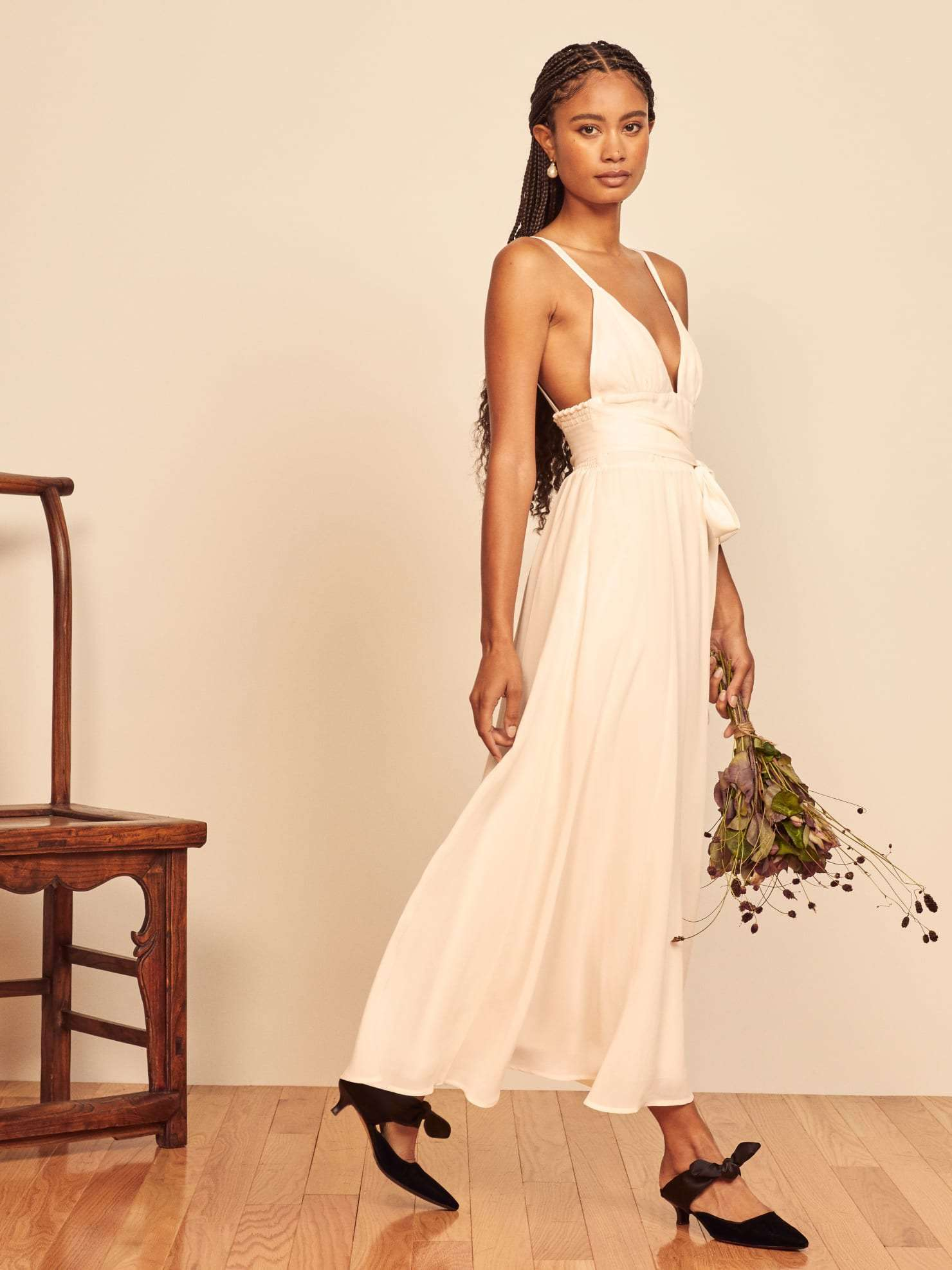 Reformation Prosecco dress for beach wedding
