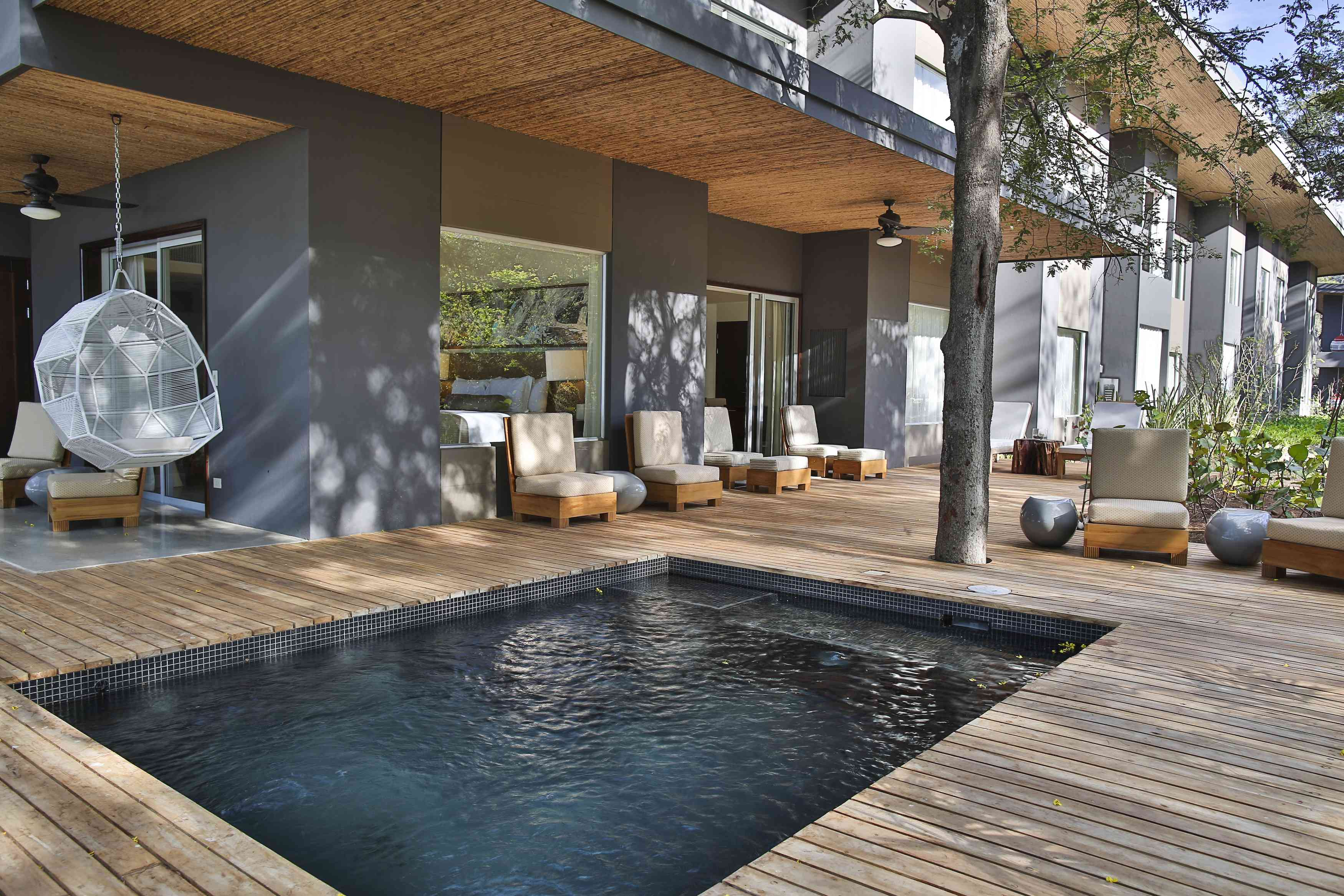 Private pool and pool deck at El Mangroove in Costa Rica