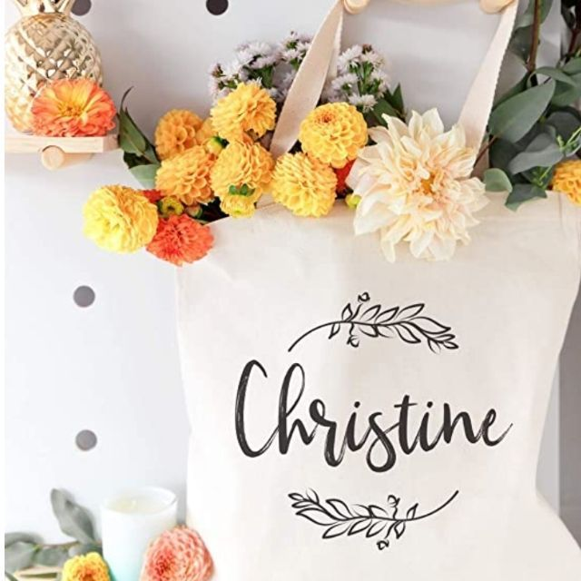 Amazon The Cotton & Canvas Co. Personalized Name with Vine Tote
