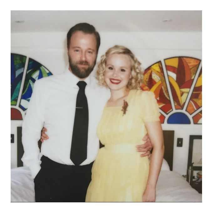 Alison PillFor her Memorial Day wedding weekend, Alison Pill opted for a retro look, rocking a sunflower yellow vintage dress with short sleeves, a square neckline, and ruffles along the bodice. The ankle-length gown was complemented by Pill's pitch-perfect tight ringlets and bright red lip