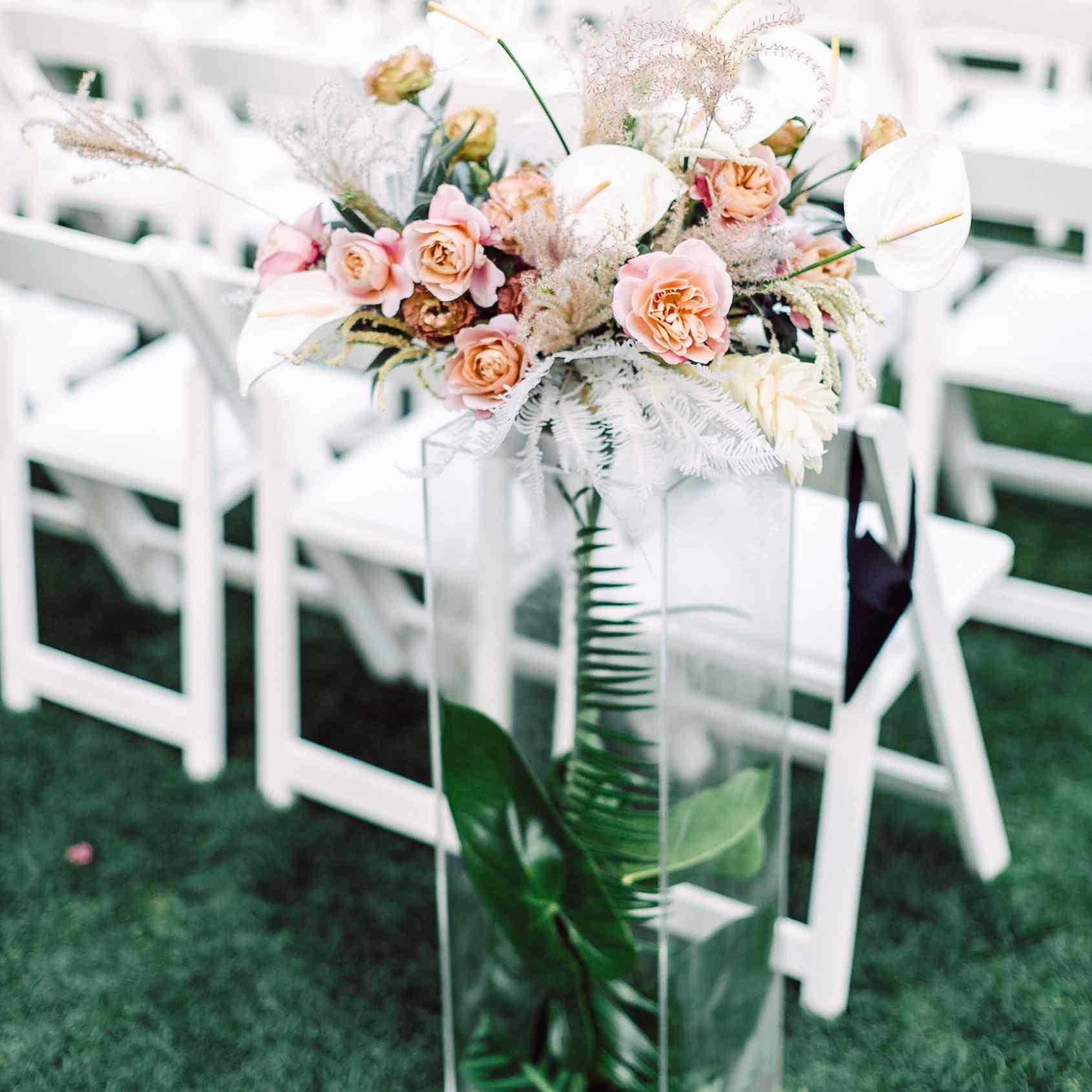 Floral arrangement at ceremony