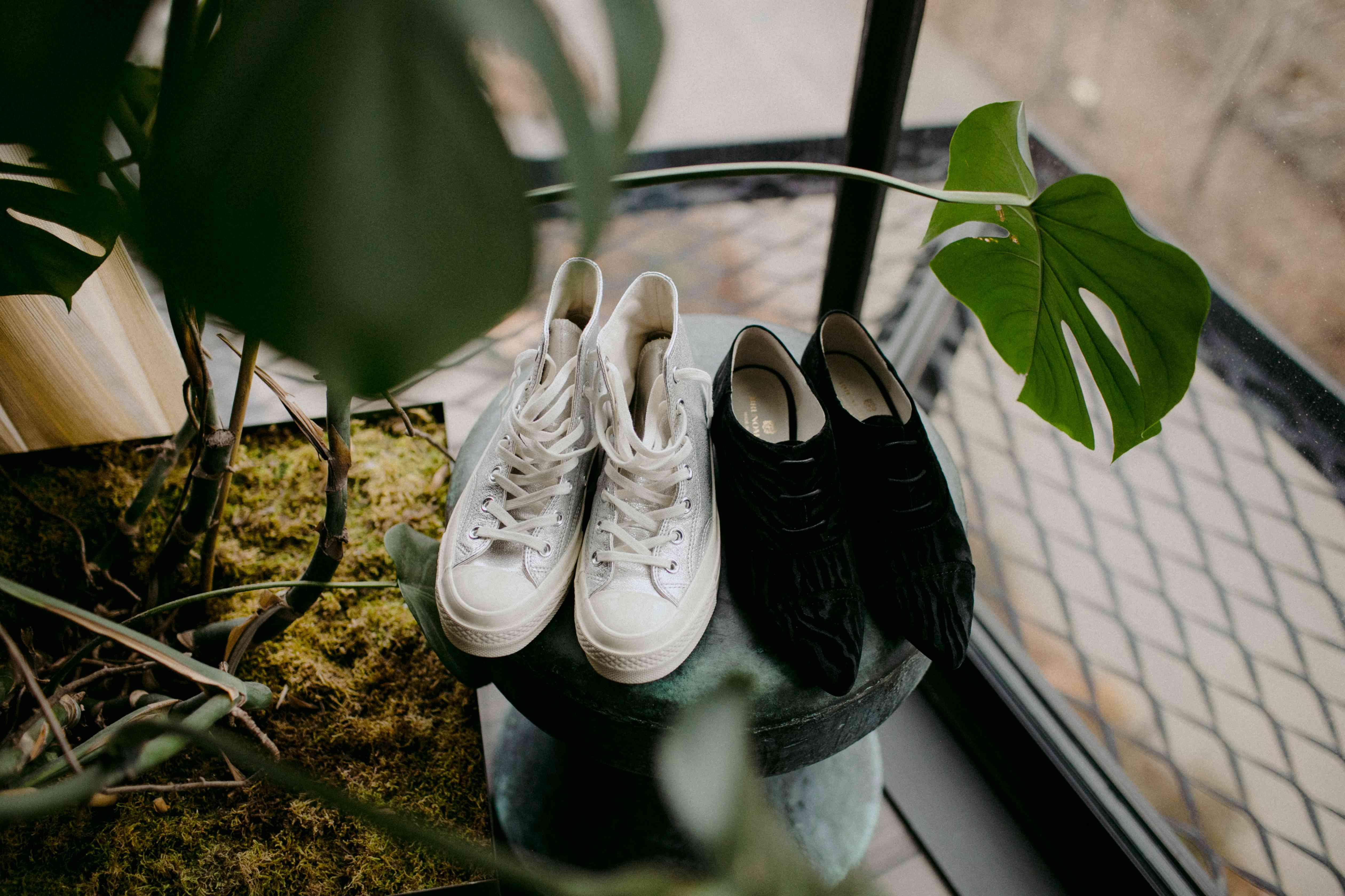 The brides' wedding shoes