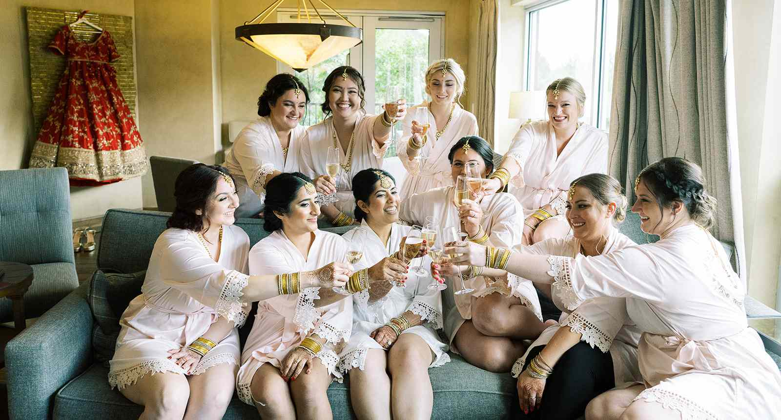 bridal party wearing robes