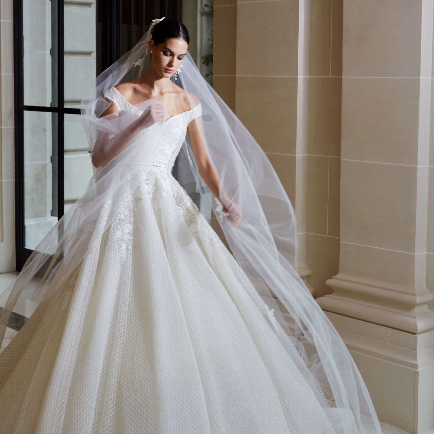 Model in off-the-shoulder netted tulle ball gown with floral embroidery