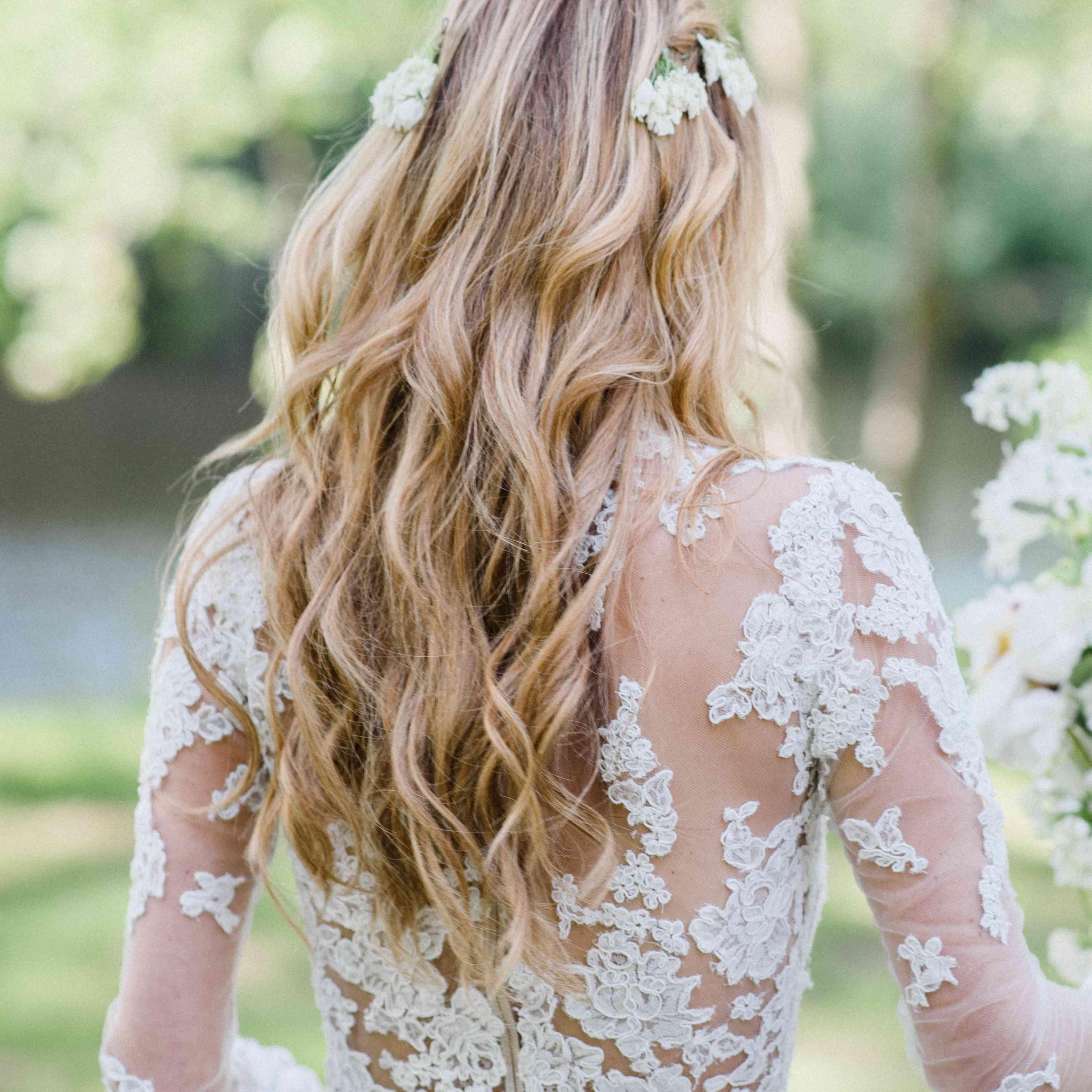 long wavy hair bride