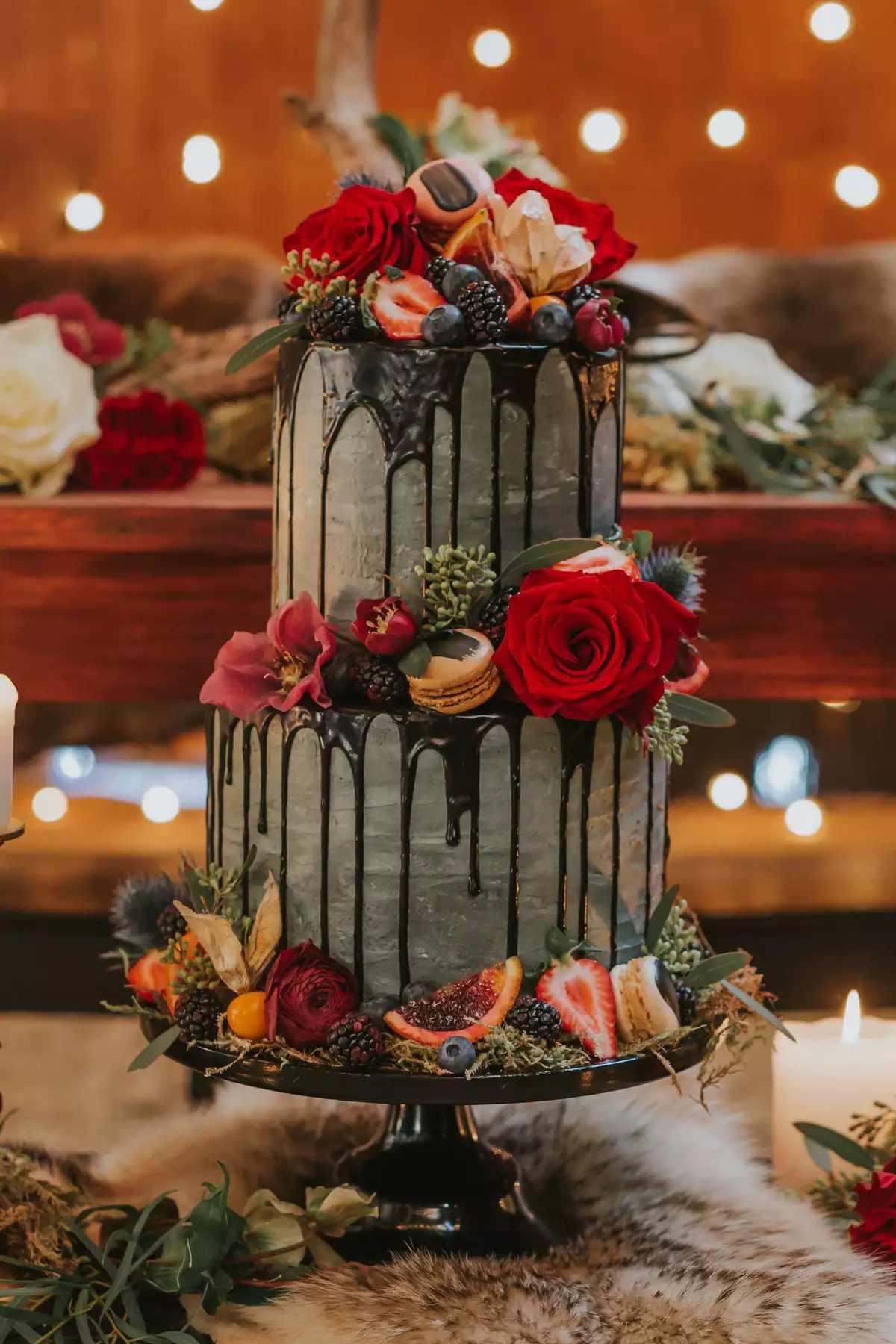 wedding cake with black drip