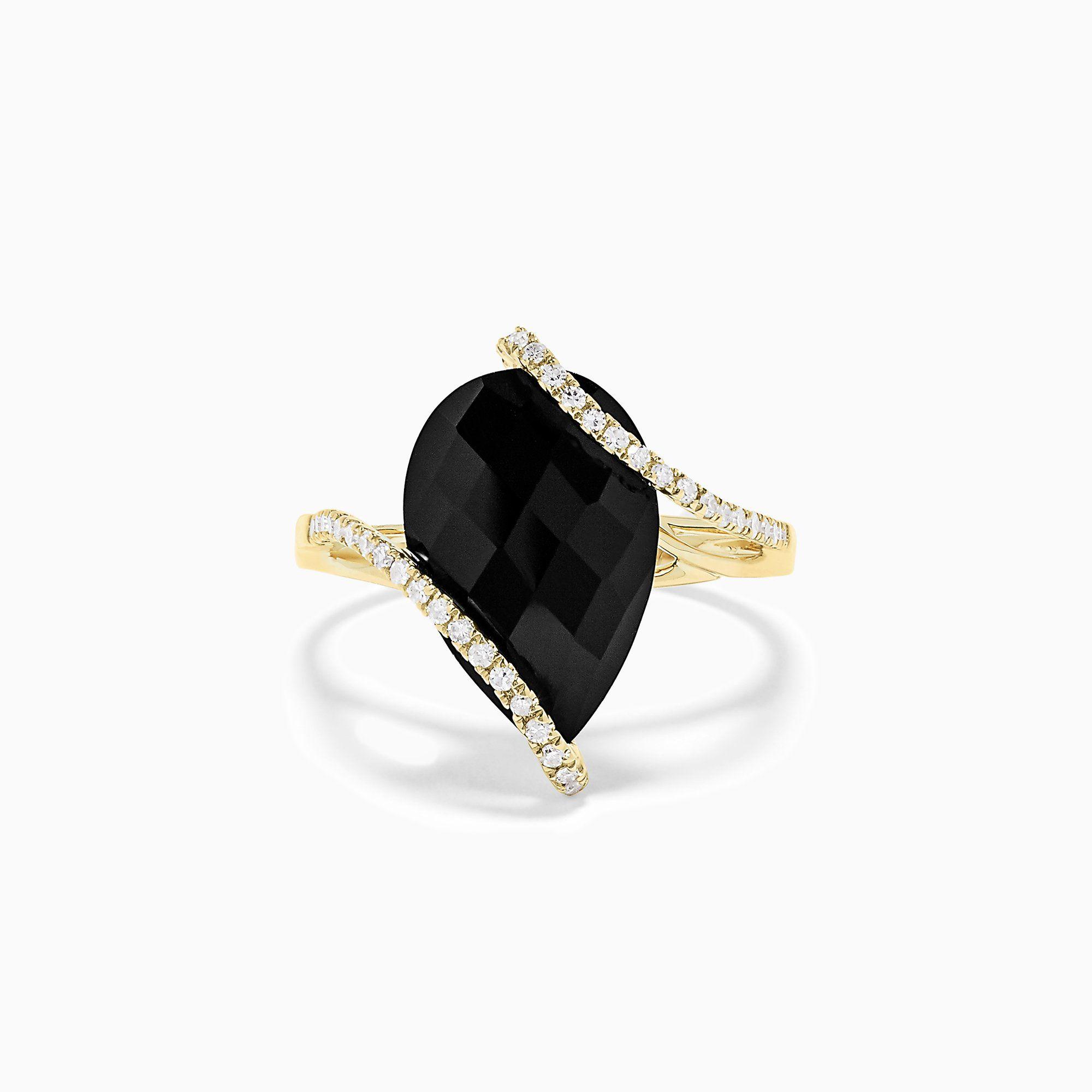 Effy Eclipse Onyx and Diamond Teardrop Ring
