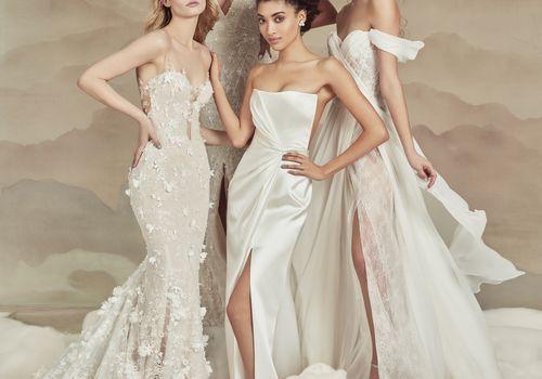 models wearing wedding dresses