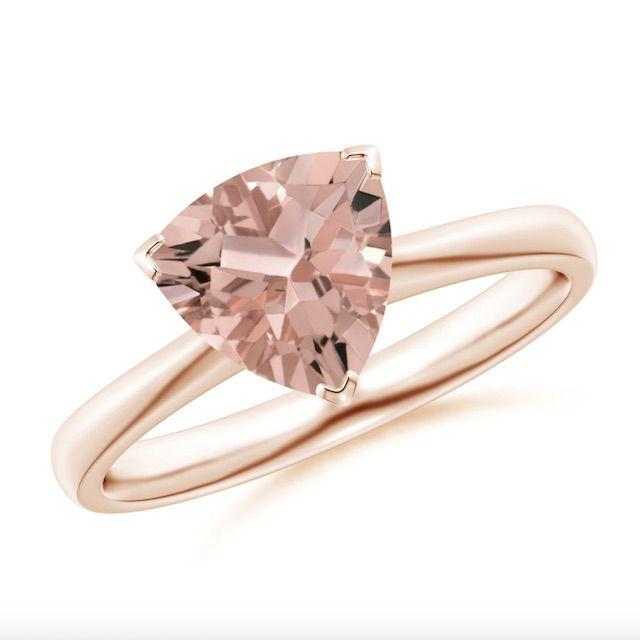 Angara Trillion Morganite Solitaire Engagement Ring