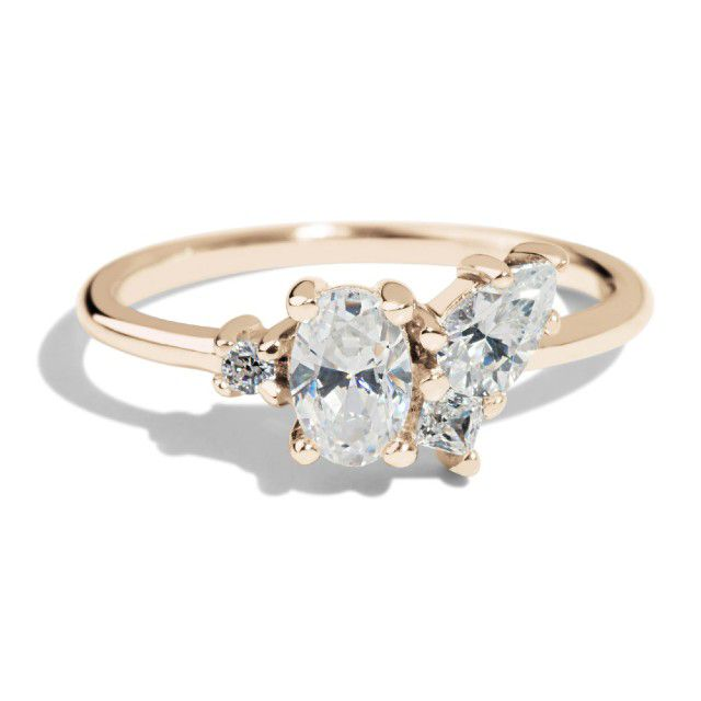 cluster ring with thin gold band