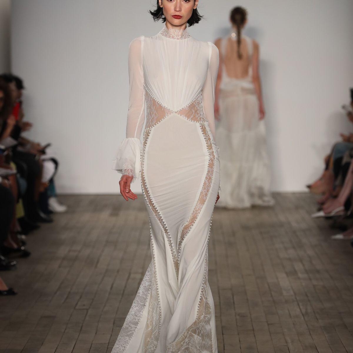 Model in long sleeve sheer panel wedding dress