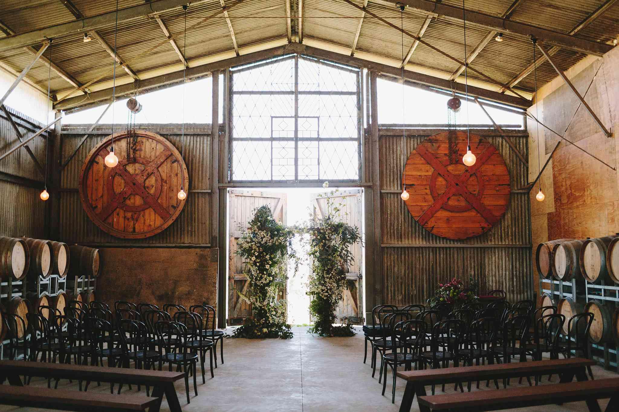 Indoor winery wedding ceremony