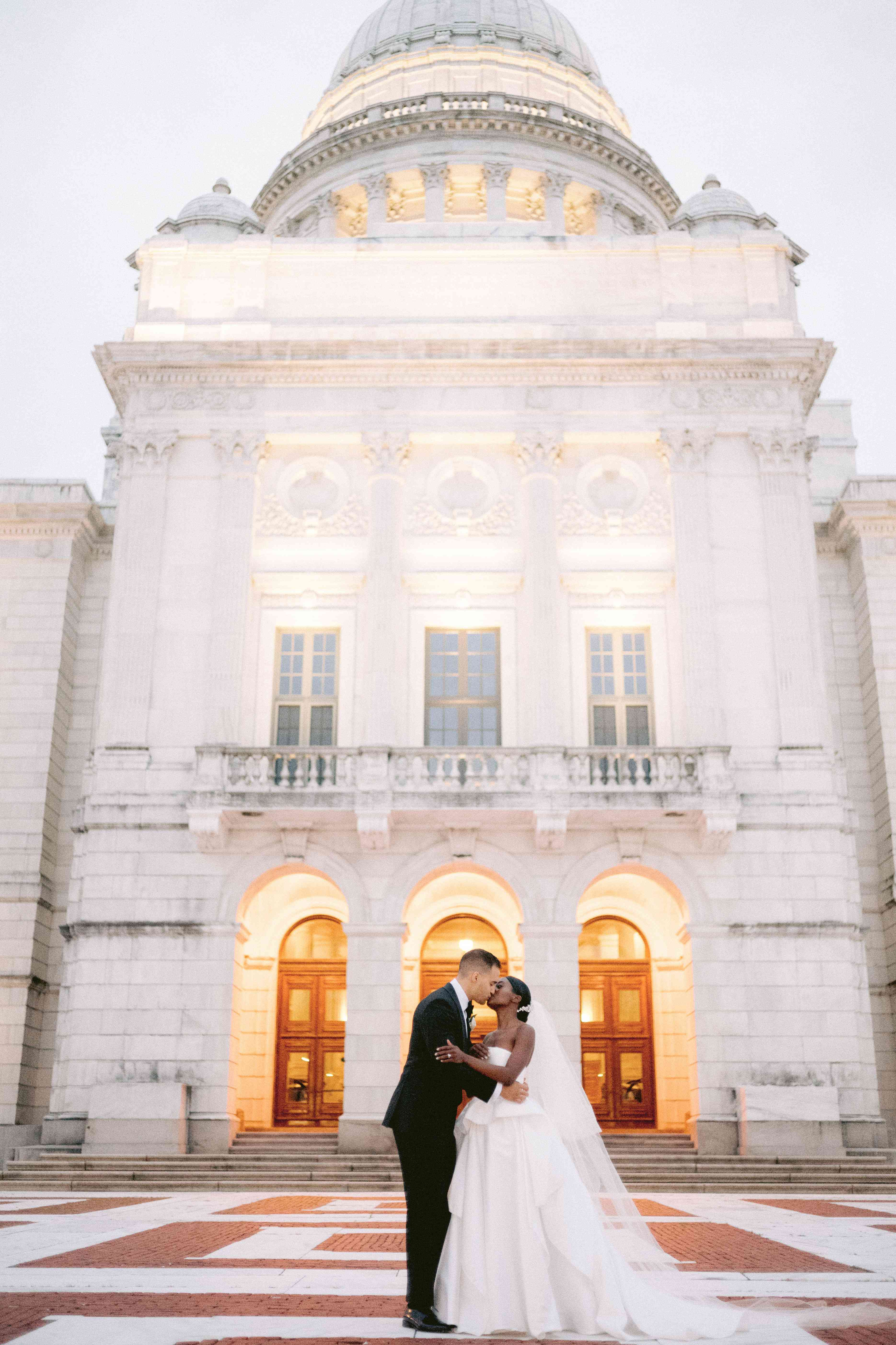 bride and groom at Providence Public Library