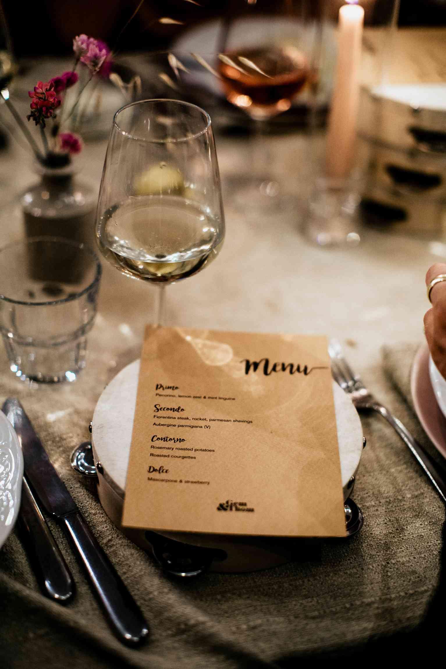 Tuscany wedding menu