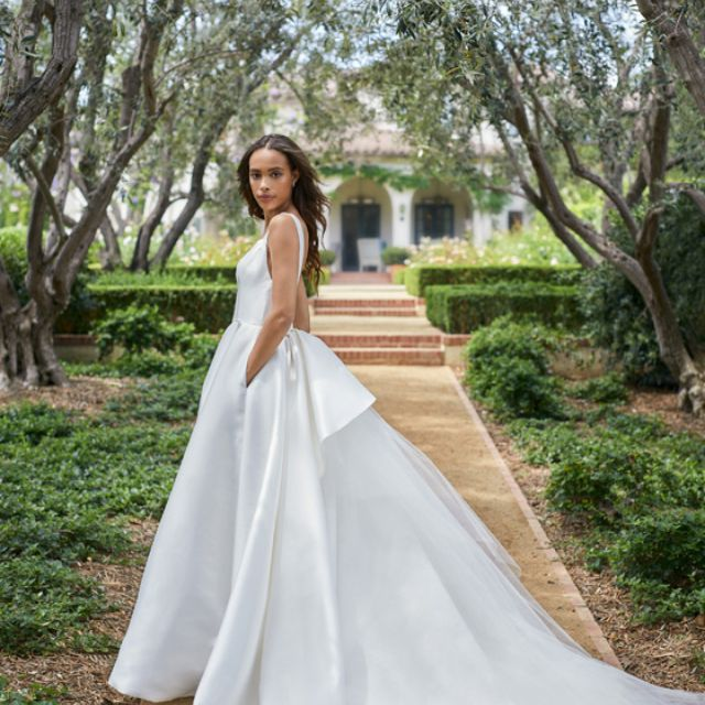 45 Wedding Dresses With Pockets,Corset Short Wedding Dresses With Train