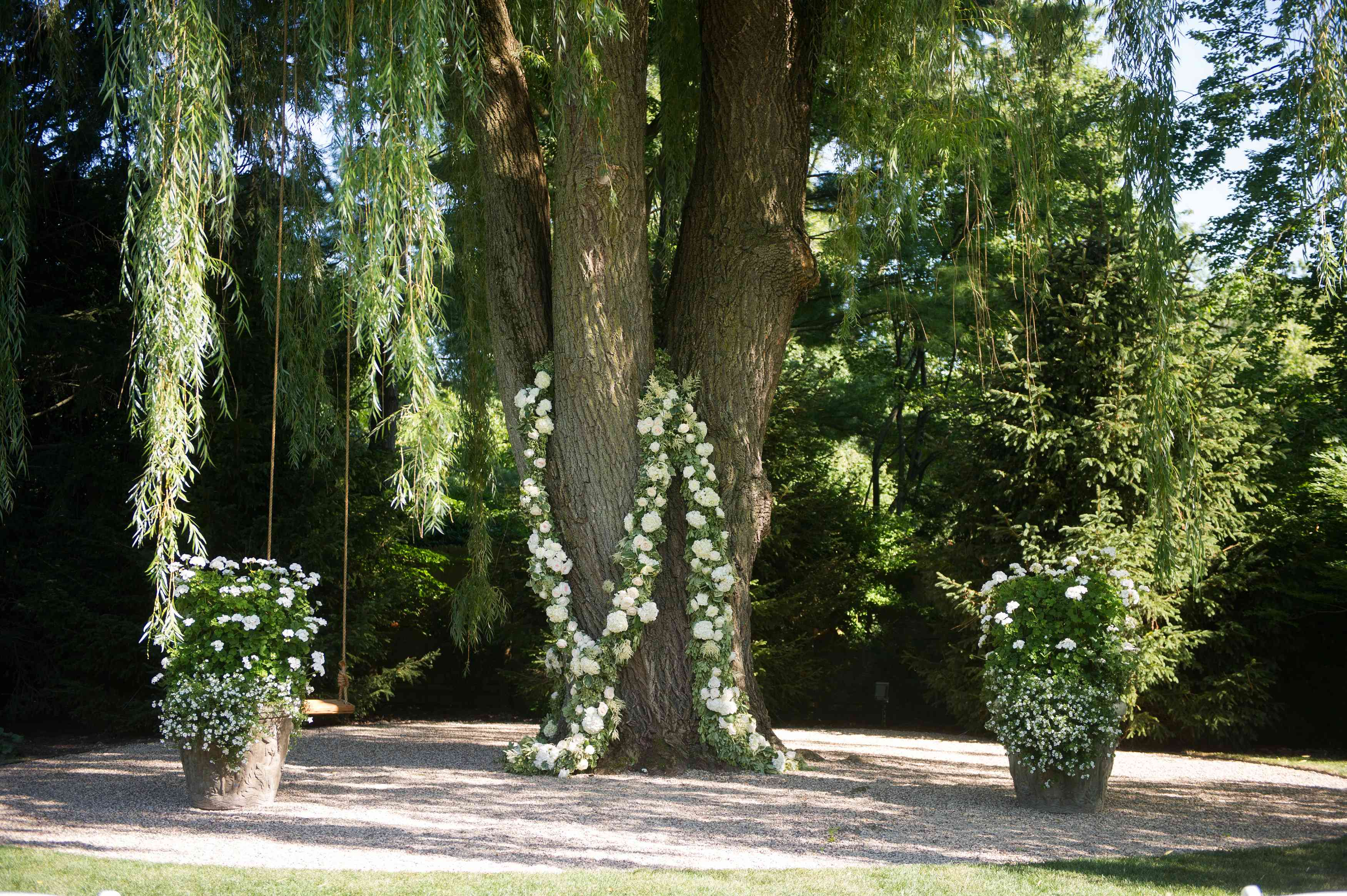 A willow tree with floral arrangements
