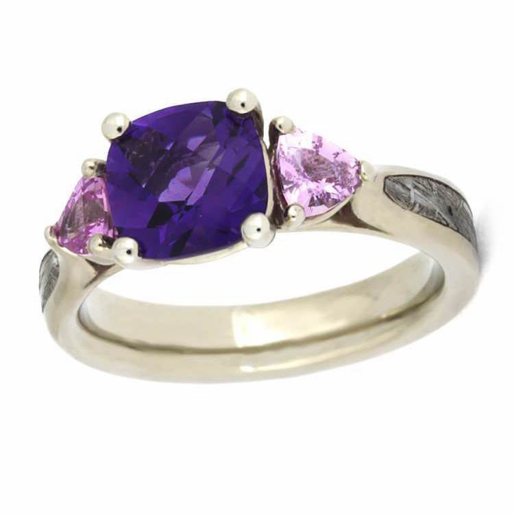 White Gold Amethyst and Sapphire Ring with Meteorite