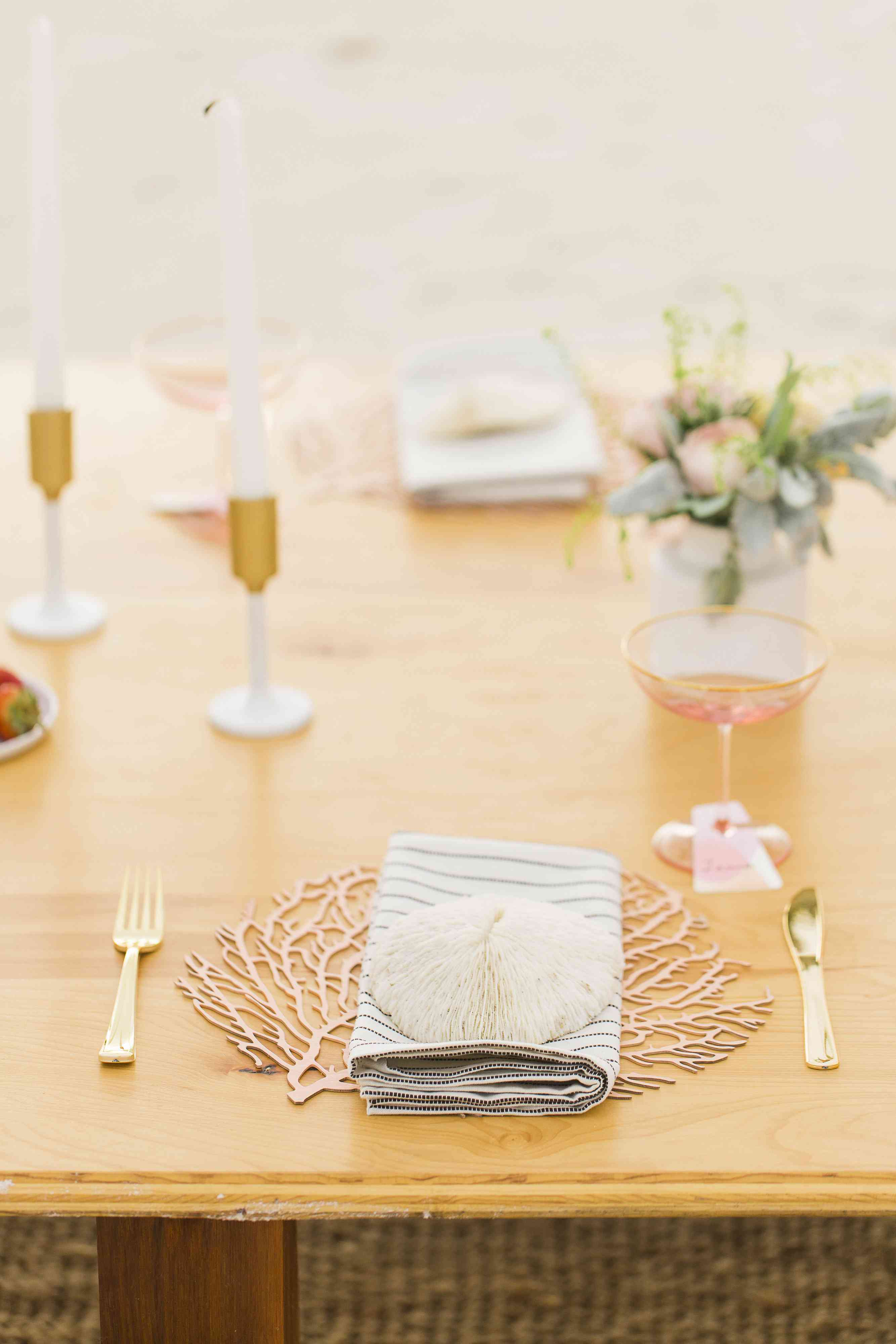 Rose and Gold Table Setting