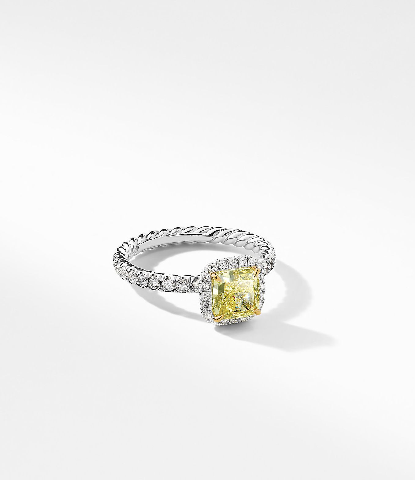 Pave band with square yellow diamond ring