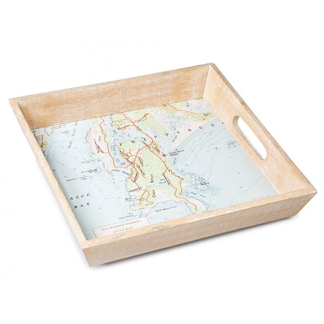 ScreenCraft Gifts Wood-Framed Custom Map Serving Tray